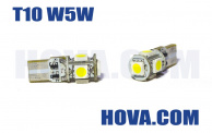 Lampor LED 5st SMD Polaritetsoberoende T10 W5W Wedge Canbus